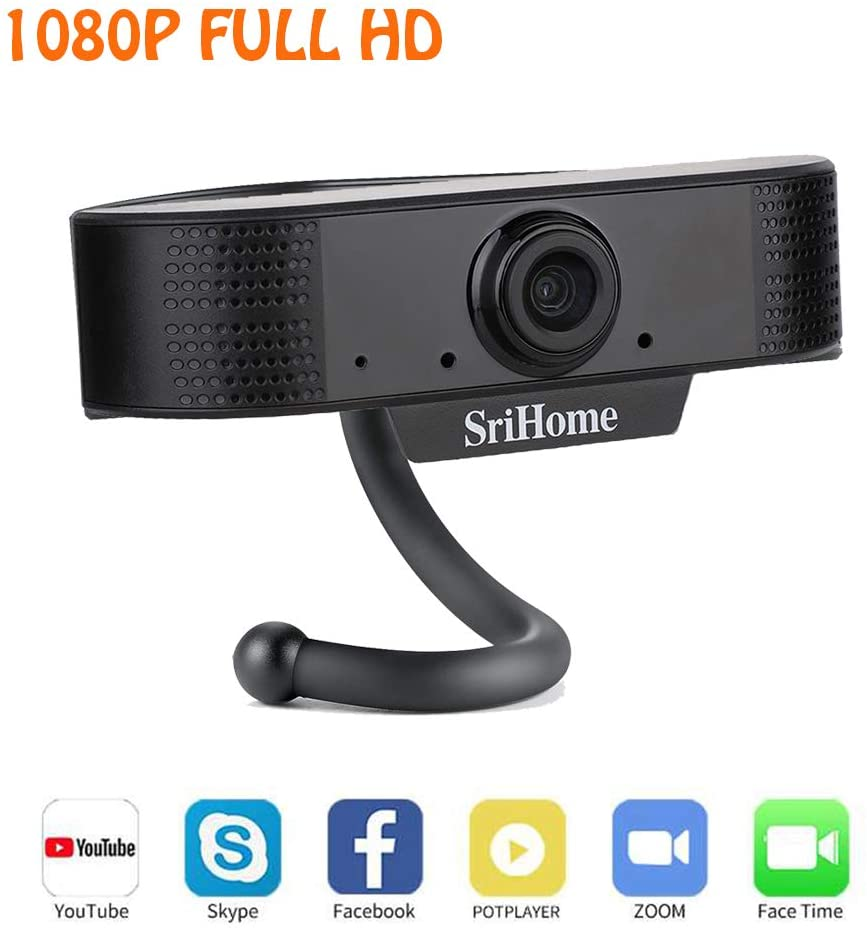 joupugi 1080P HD Focusing Webcam, Desktop Computer USB Camera with Microphone,30FPS Digital USB Video Recorder Clip-on for Video Calling, Studying, Conference