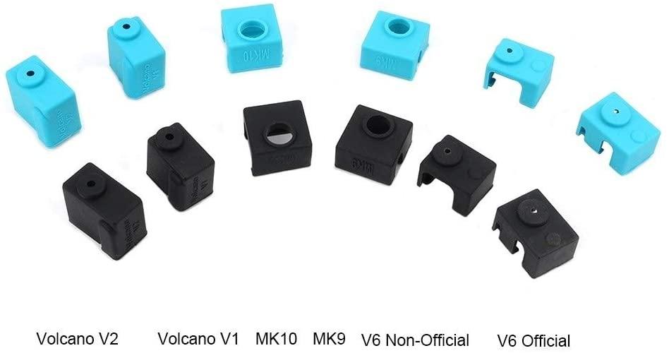Logo RENLIDIAN Silicone Sock for V6 PT100 MK7 MK8 MK9 MK10 Volnaco 1.75 3.0mm Silicone Socks Heated Block Heater Silicone Insulation Cover 3D Printing Accessories (Color : Black, Size : MK7MK8MK9)
