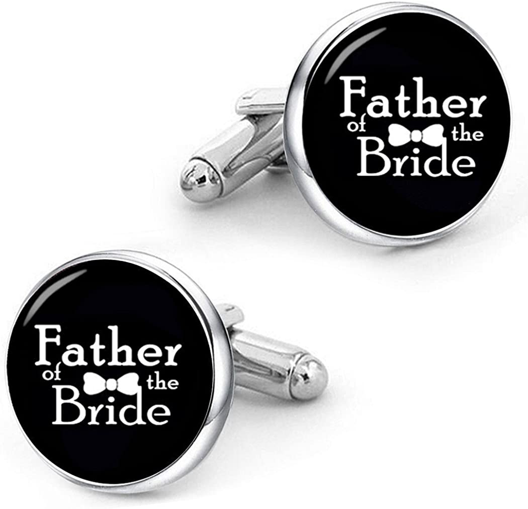 Kooer Handmade Custom Personalized Wedding Cuff Links Father of The Bride Cufflinks Jewelry Gift