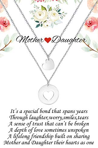 Seyaa Mother Daughter Silver Chain Necklace Mom and Daughter Matching Cut Out Heart Pendant Jewery Gift for Mother's Day Girls Women Teens