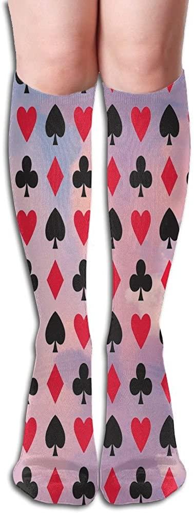 LzVong Full Poker Shape Women's Long Knee High Socks Dresses Casual Stockings