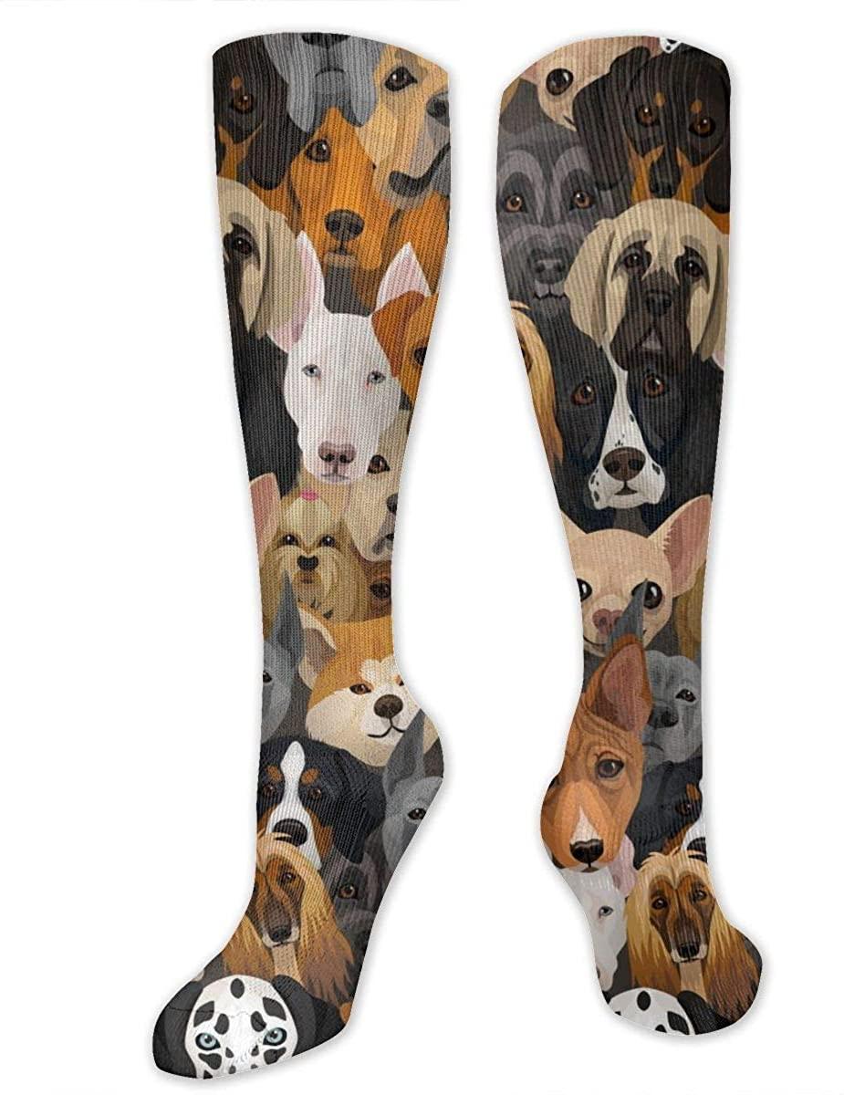 Husky Dalmatian Bulldog Athletic Socks Thigh Stockings Over Knee Leg High Socks