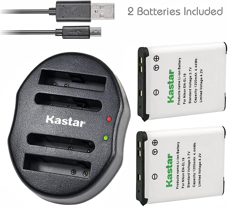 Kastar Battery + Dual Charger for Nikon EN-EL19 Coolpix S2800 S3100 S3200 S3300 S3400 S3500 S3600 S3700 S4100 S4200 S4300 S5200 S5300 S6400 S6500 S6600 S6700 S6800 S6900 S7000 and Sony NP-BJ1 DSC-RX0