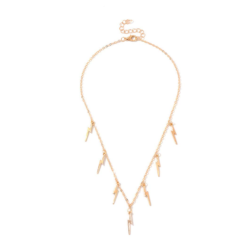 Jovono Fashion Lightning Pendant Necklaces Dainty Necklace Chain Jewelry for Women and Girls (Gold)