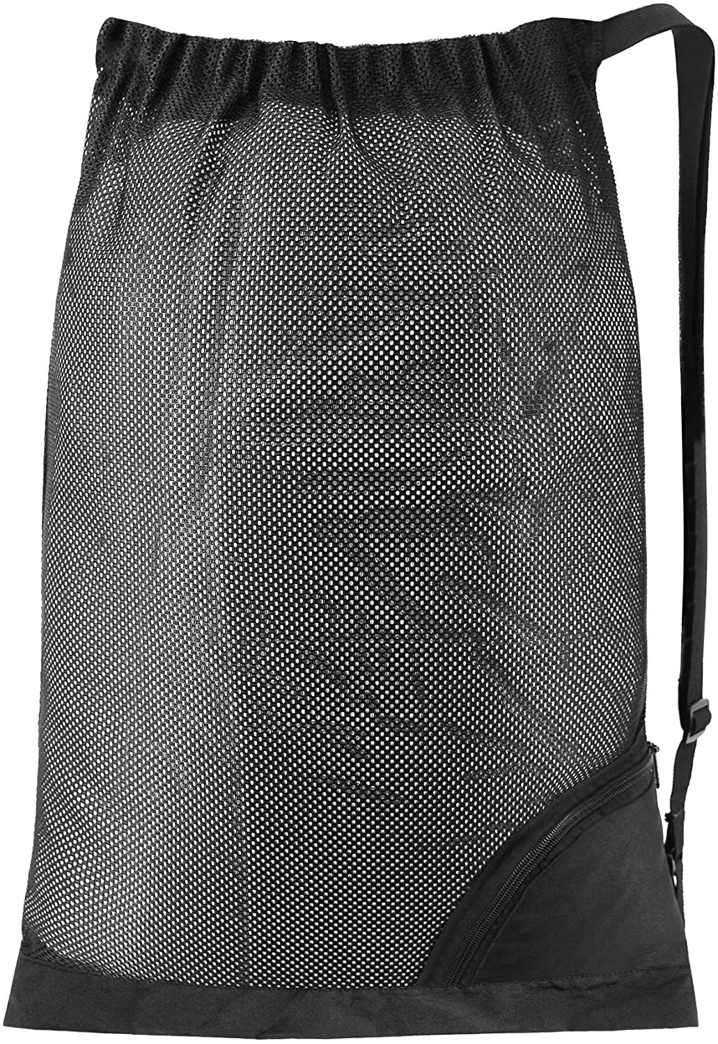 Mesh Drawstring Sling Bag 1 Pcs Durable Lightweight Net String Sports Gym Equipment Backpack Nylon Washable Large Swimming Pool