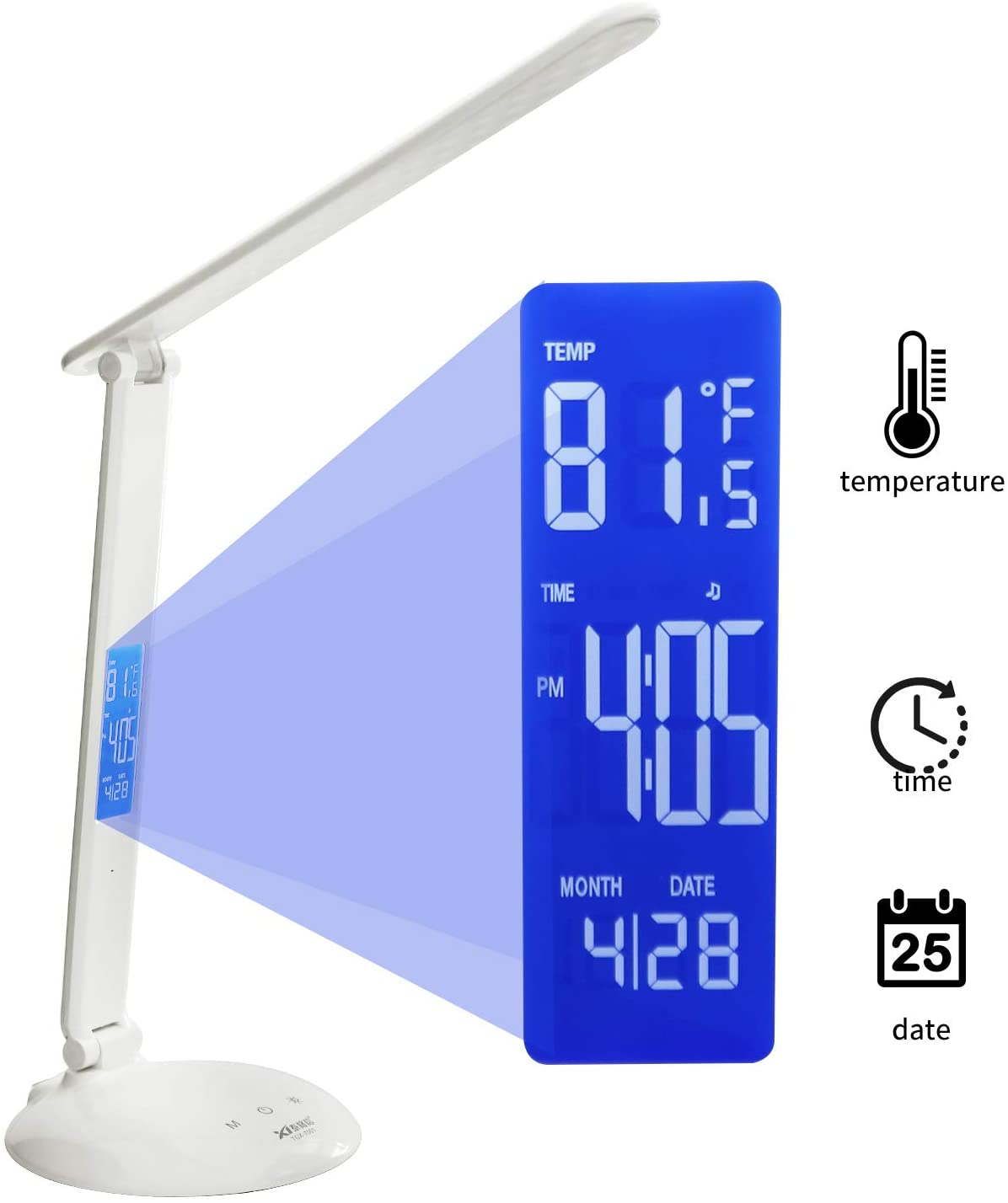 LED Desk Lamp Dimmable Eye-Care Table Lamp with 3 Lighting Mode USB Charging Port and Built-in LCD Screen Display Clock, Calendar, Temperature with USB Charging Port, Touch Control Desk Lamp for Home