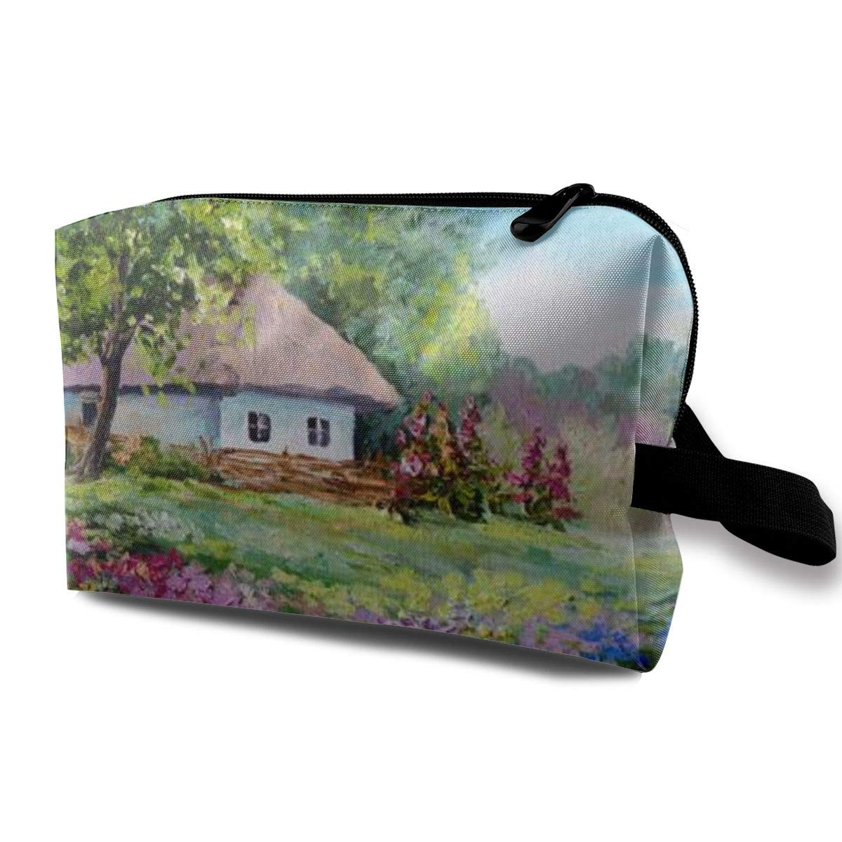 Makeup Bag Cosmetic Pouch Oil Painting House Flowers Landscape Multi-Functional Bag Travel Kit Storage Bag