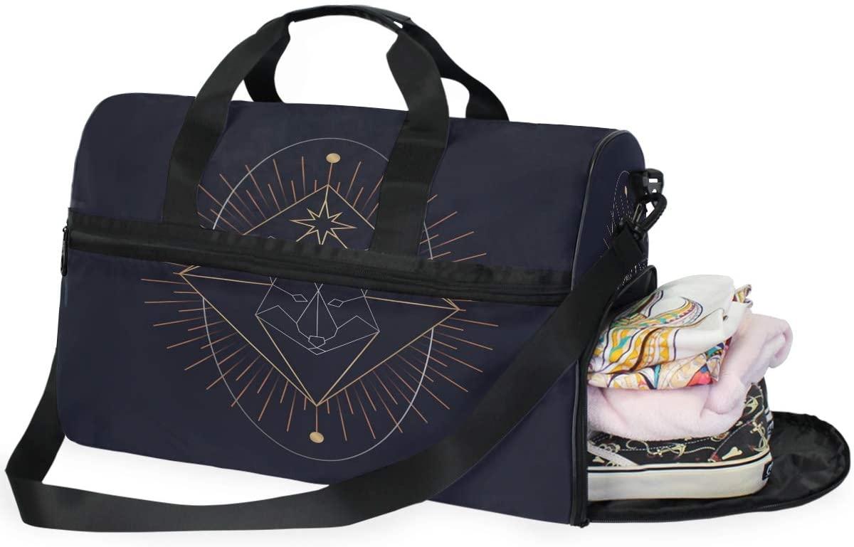 Large Duffle Bag Geometric Animal Wolf Gym Bag Sport Duffel Bag for Men Women Traveling