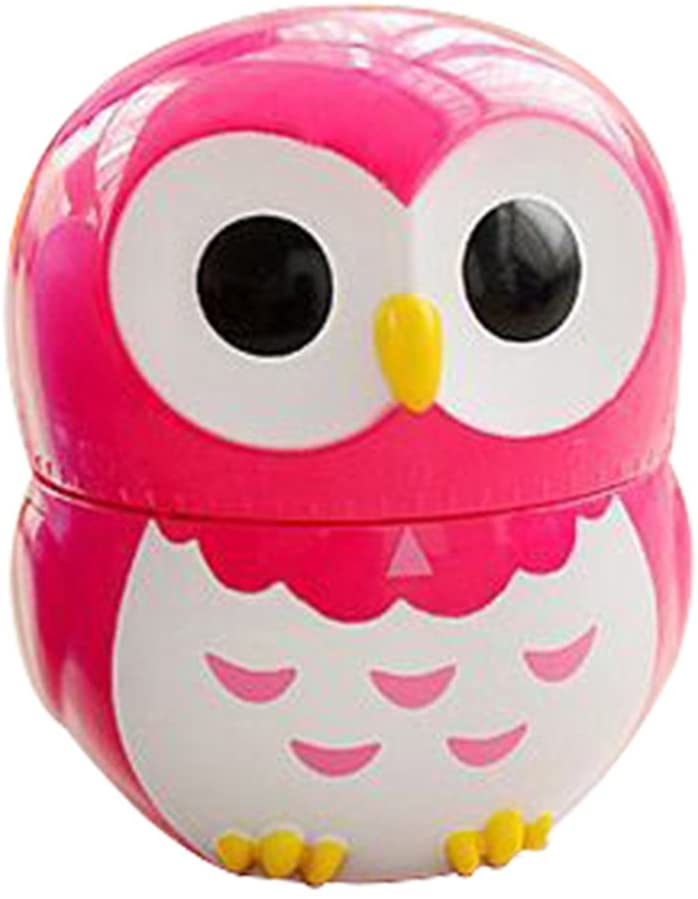 Yonger Cute Cartoon Owl Shape Kitchen Timers Mechanical Cook Cooking Timer (Rose Red)