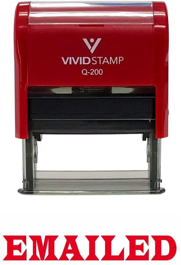 EMAILED Office Self-Inking Office Rubber Stamp (Red) - Medium