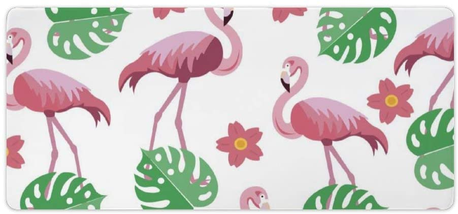 Laptop Desk Mat, Office Desk Pad, Pink Bird with Leaf Water Bird Organism Wildlife Pattern, Desk mats on top of desks Large, Desk pad Protector, for Office Work/Home/Decor, 16X35 inches