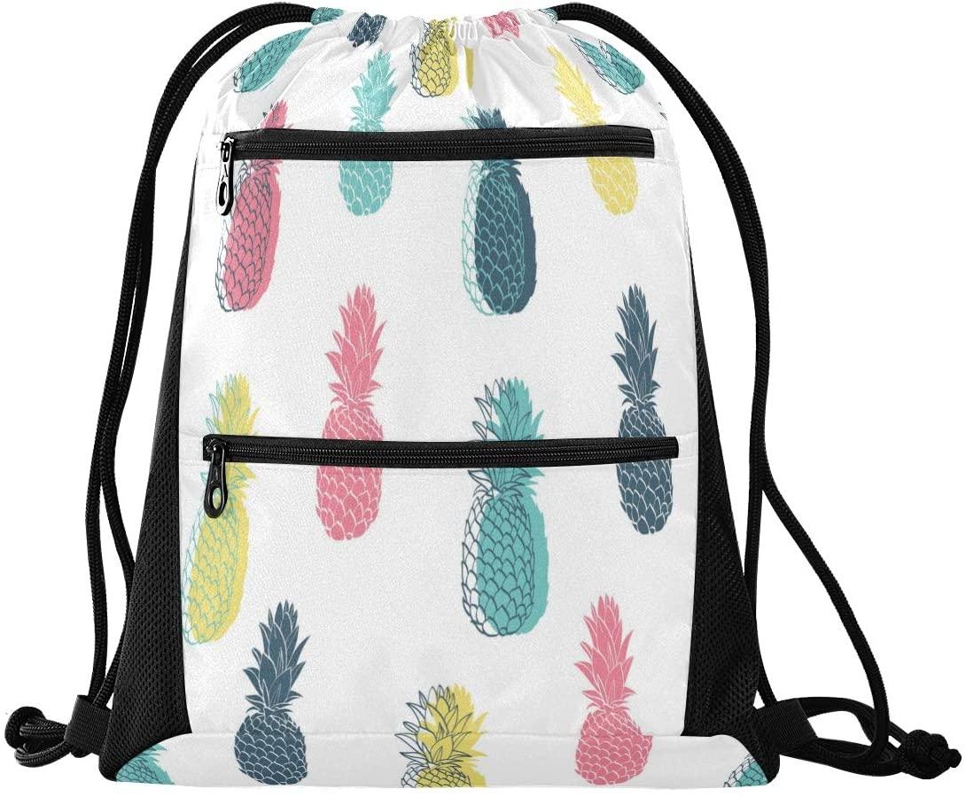 Drawstring Backpack Sport Gym Sackpack - Colorful Pineapple Drawstring Bag with Zipper Pocket Cinch Sport Bag Sport Backpack for Dance