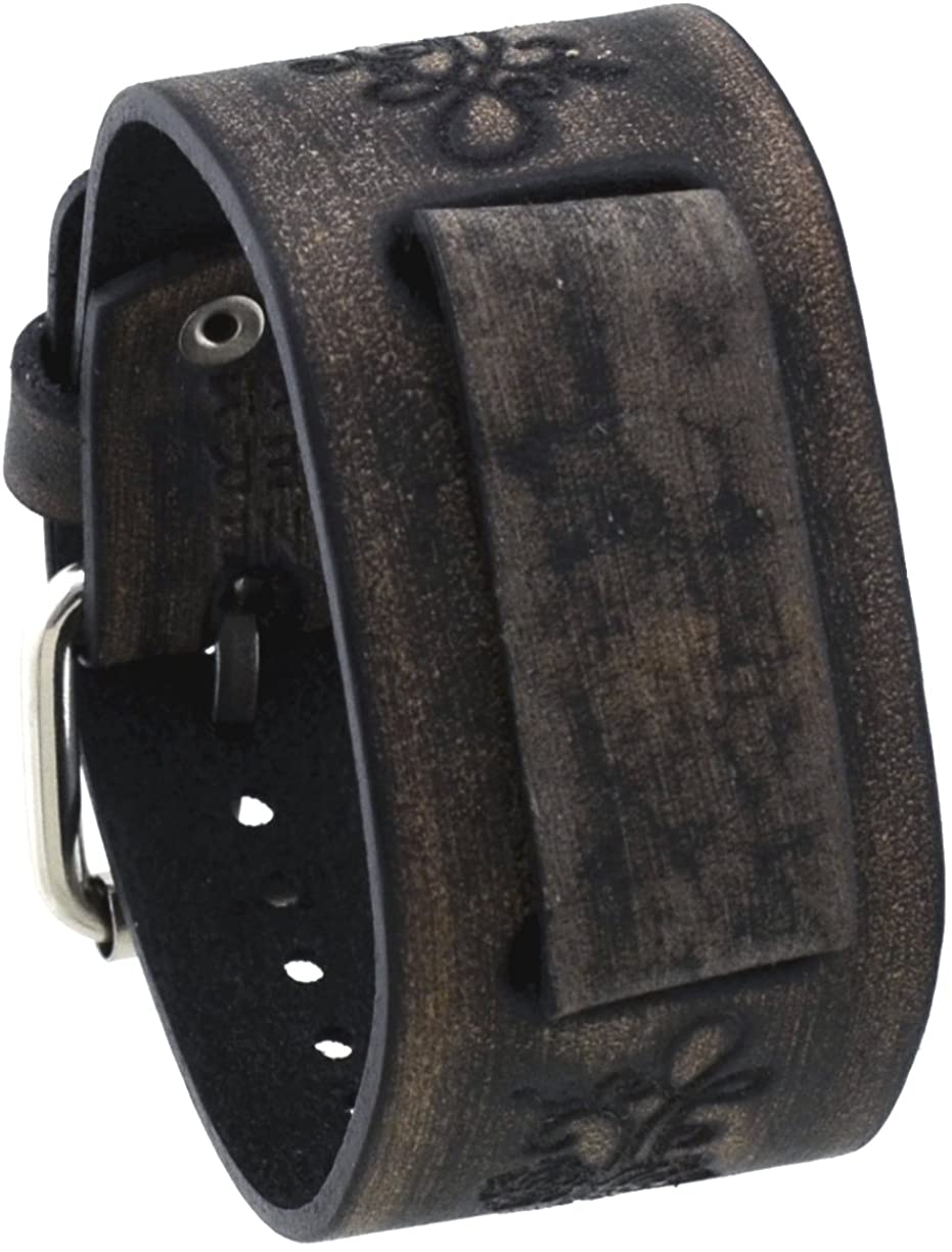 Nemesis #VfB-K Charcoal 20mm Lug Width Wide Flower Patter Leather Watch Cuff Band