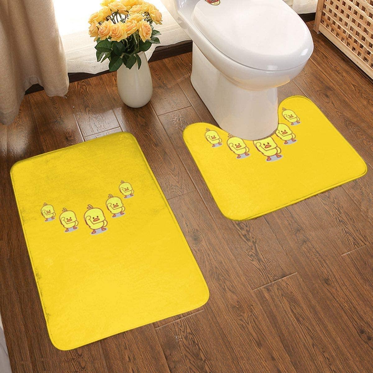 Yellow Tweety Duck Bath Mats Set 2 Pieces Non-Slip Absorbent Water Bathroom Pad Toilet Mat Easy to Clean Bathroom Floor