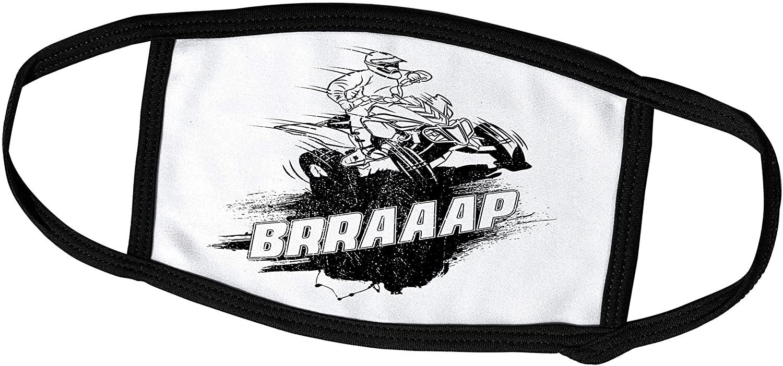 3dRose Carsten Reisinger - Illustrations - Cool ATV Racer BRRAAAP Quad Biker and Four Wheeler Rider - Face Masks (fm_282641_3)