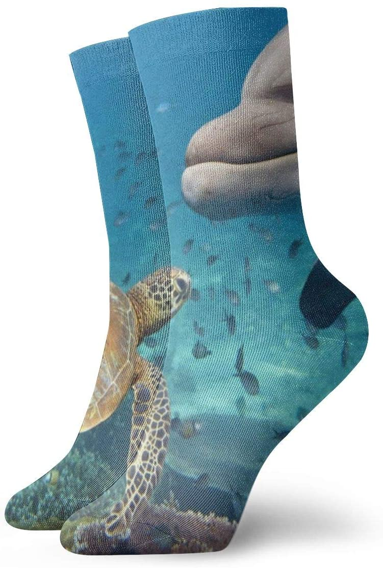 Crew Socks Dolphin and Turtle Fantastic Womens Sports Stocking Decor Sock Clearance for Senior