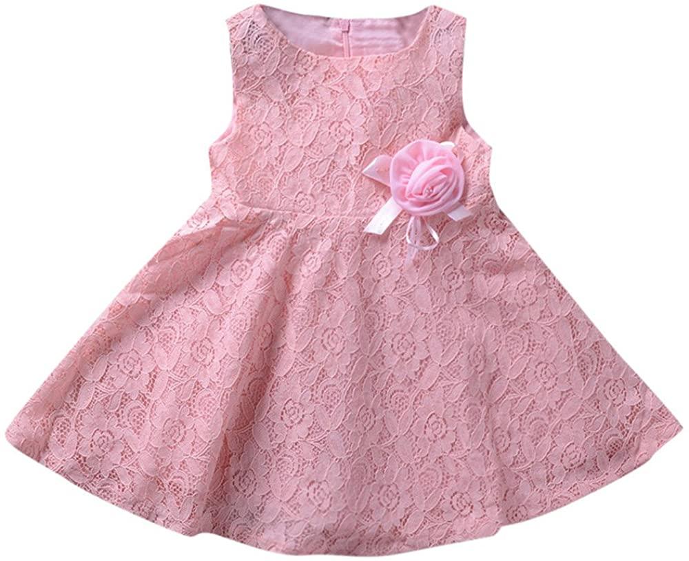 ZEFOTIM Baby Girls Cute Dress,Children Girls Sleeveless Lace and Flowers Kids Clothes Princess Dress 18-24M 3-6T