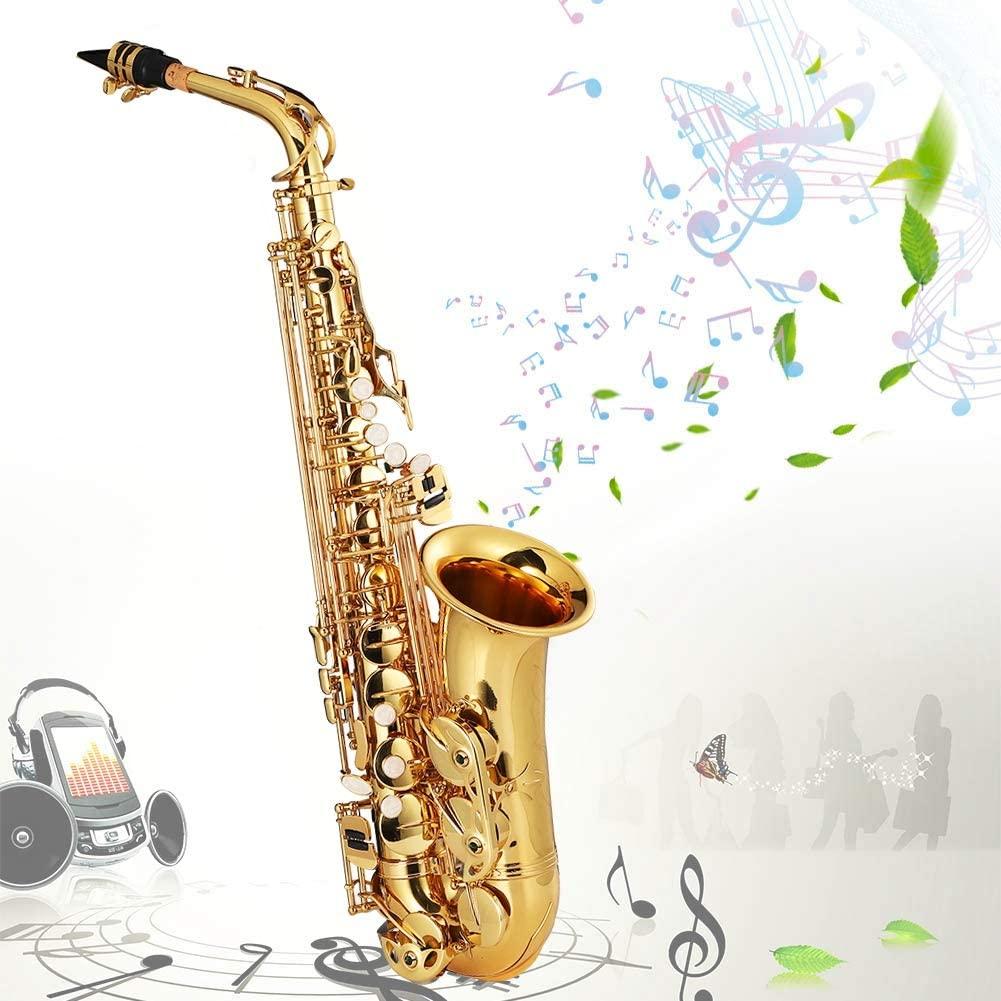 Jarchii Bell Mouth Saxophone Electrophoresis Gold E Flat Alto Saxophone Set, Music Instrument Gold Alto Saxophone Set, for Beginners Teaching(Golden)