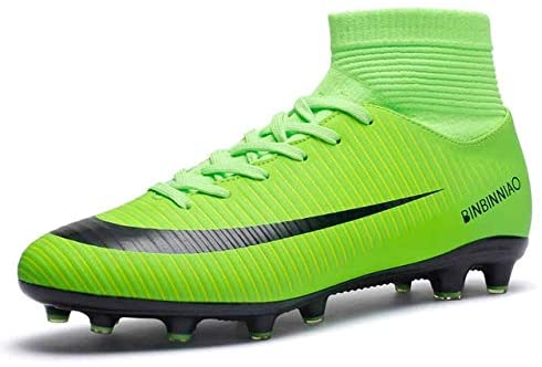 Linmatealliance Outdoor&Sports Outdoor&Sports Shoes High Top Non-Slip Wearable and Comfortable Football Boots Soccer Cleats for Men, Shoe Size:7.5(Long Spikes Black) (Color : Long Spikes Green)