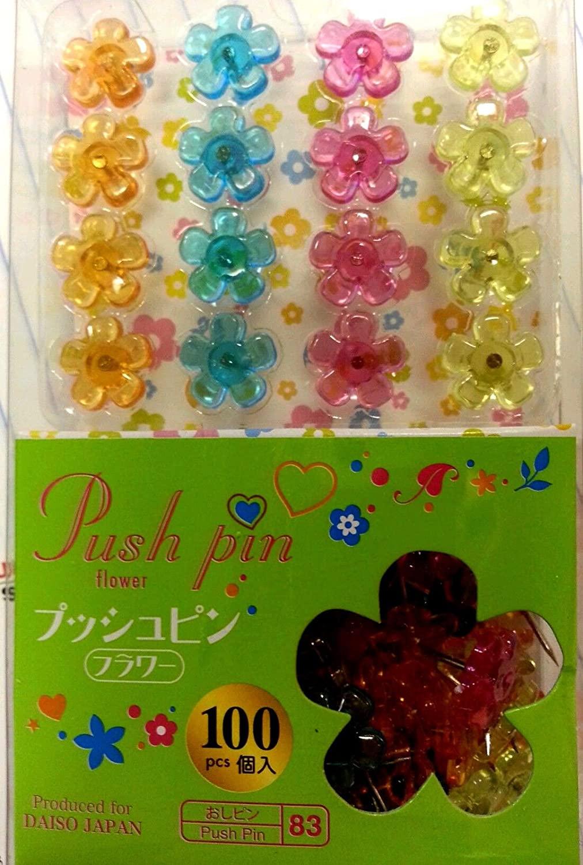 1 X Flower Shape Colorful, Cute, Clear Plastic Pushpins 100pcs Push Pins