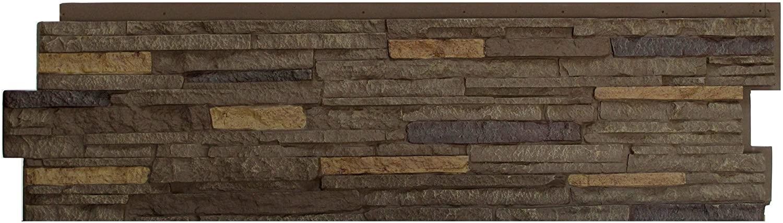 NextStone Polyurethane Faux Stone Panel - Stacked Stone - Walnut Brown (5 Panels per Box)