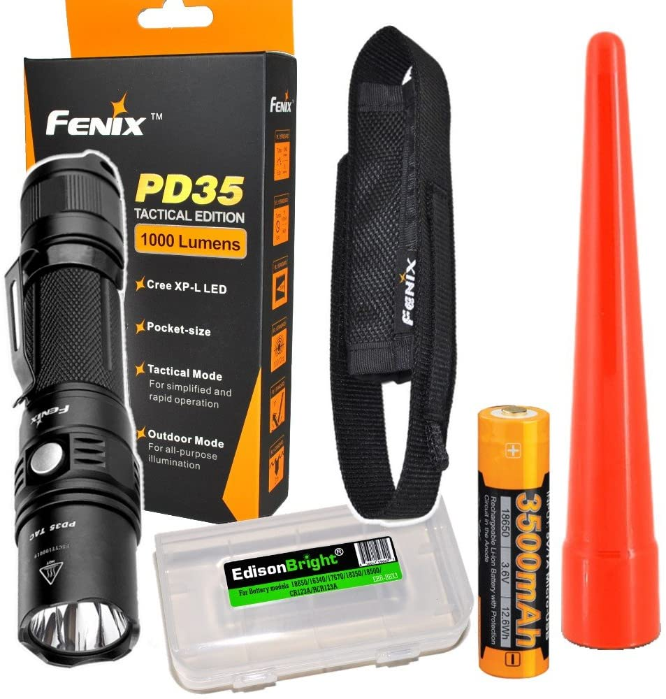 Fenix PD35 TAC 1000 Lumen CREE LED Tactical Flashlight Long Duration USB Rechargeable Battery, Holster, AOT-S Traffic Wand & EdisonBright CR123A Battery case Bundle for Police Officers