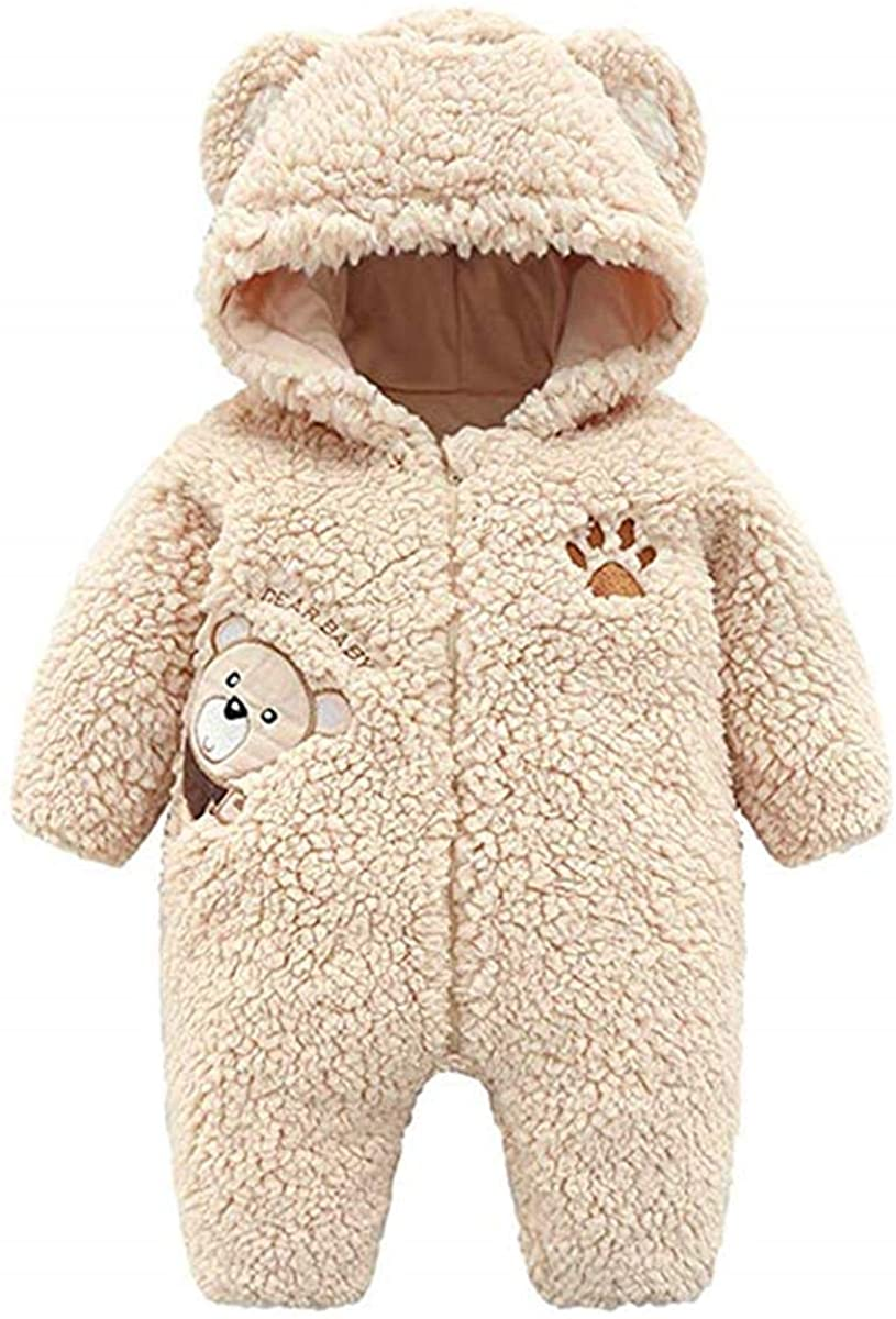 Lemohome Baby Warm Cashmere Bear Romper Winter Hooded Fleece Jumpsuit Baby Clothes