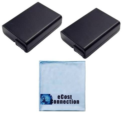 (2) High-Capacity EN-EL14 Battery for Nikon Coolpix P7000, P7100, D5100, D5200, D3100, D3200, D3300 DSLR Camera & eCostConnection Microfiber Cloth