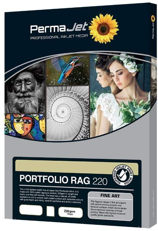 PermaJetUSA Portfolio 220 A3 Smooth Fine Art Inkjet Photo Paper, 0.32mm Thickness, 25 Sheets