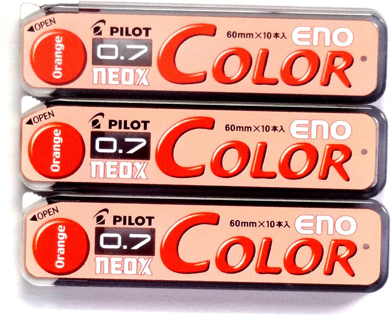 Pilot Color Mechanical Pencil Lead Eno, 0.7mm, Orange, 10 Lead ×3 Pack/total 30 Leads (Japan Import) [Komainu-Dou Original Package]