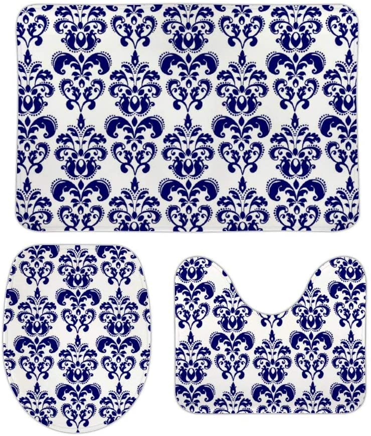 Navy Blue White Vintage Damask Pattern 3 Piece Bathroom Rug Set Bath Mat, U Shaped Contour Mat, Lid Cover Non-Slip with Rubber Backing, Perfect Carpet Mats for Tub, Shower 16 x 24 Inches