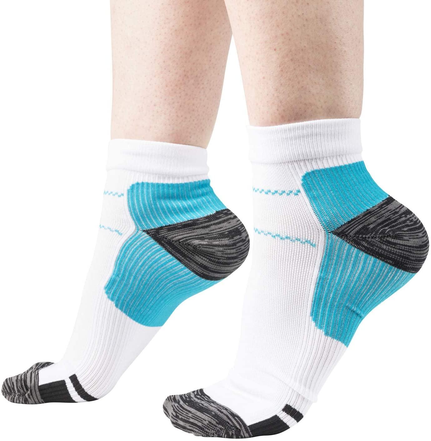 Low-Cut Plantar Fasciitis Socks for Men and Women, Heel Pain Support (2 Pairs)