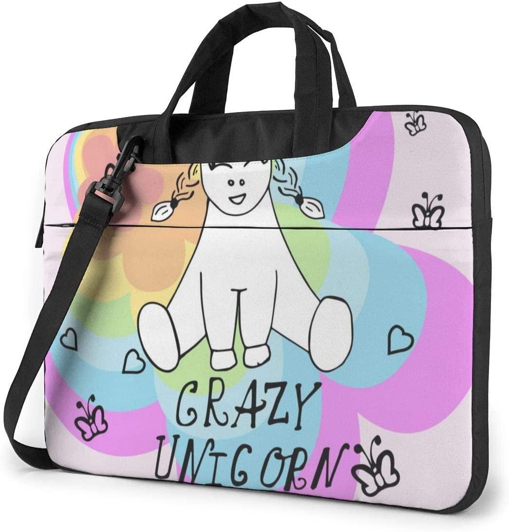 Little Unicorn Holds A Heart. (1) Laptop Bag Protective Case Computer Messenger Briefcase Women Men 15.6