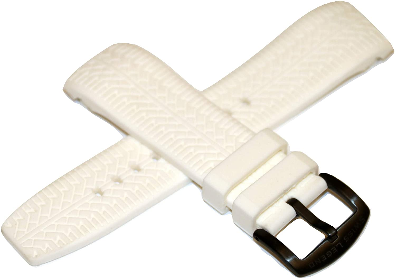 Swiss Legend 26MM White Silicone Watch Strap & Black Stainless Buckle fits 47mm Sprinter Watch