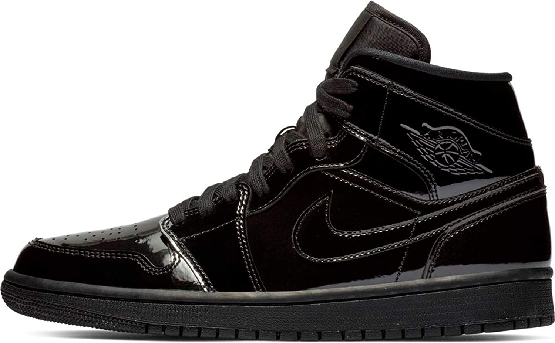 Nike Womens Jordan AJ 1 Mid Black/White Leather Casual Shoes 10 M US