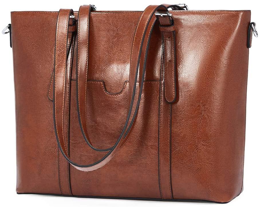 BROMEN Women Briefcase 15.6 inch Laptop Tote Bag Vintage Leather Handbags Shoulder Work Purses Brown