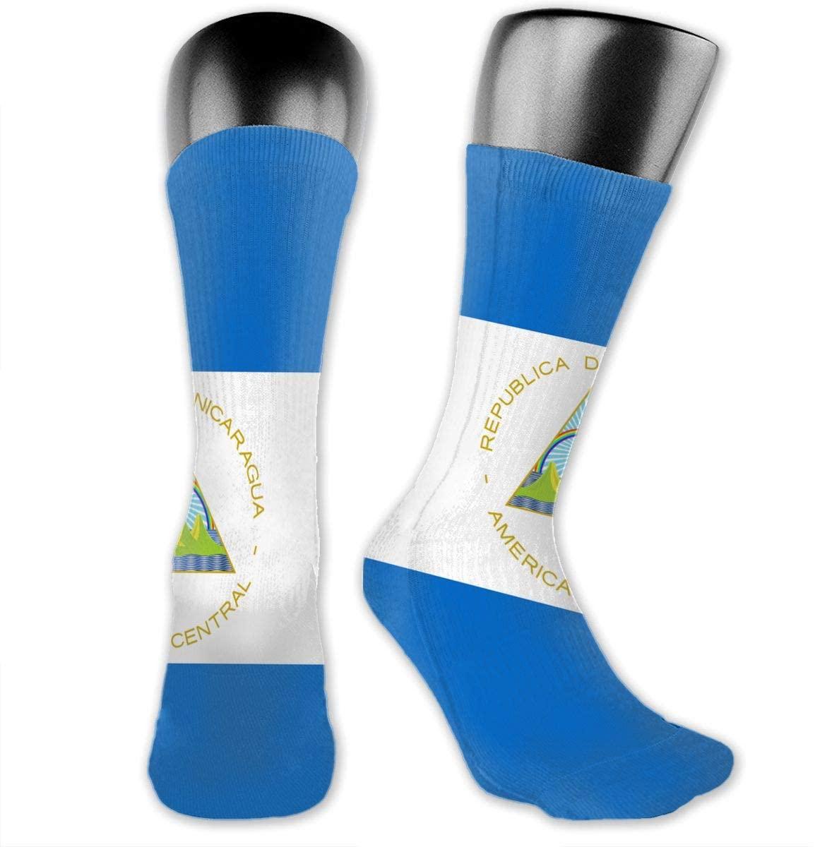 Flag of Nicaragua Unisex Outdoor Long Socks Sport Athletic Crew Socks Stockings