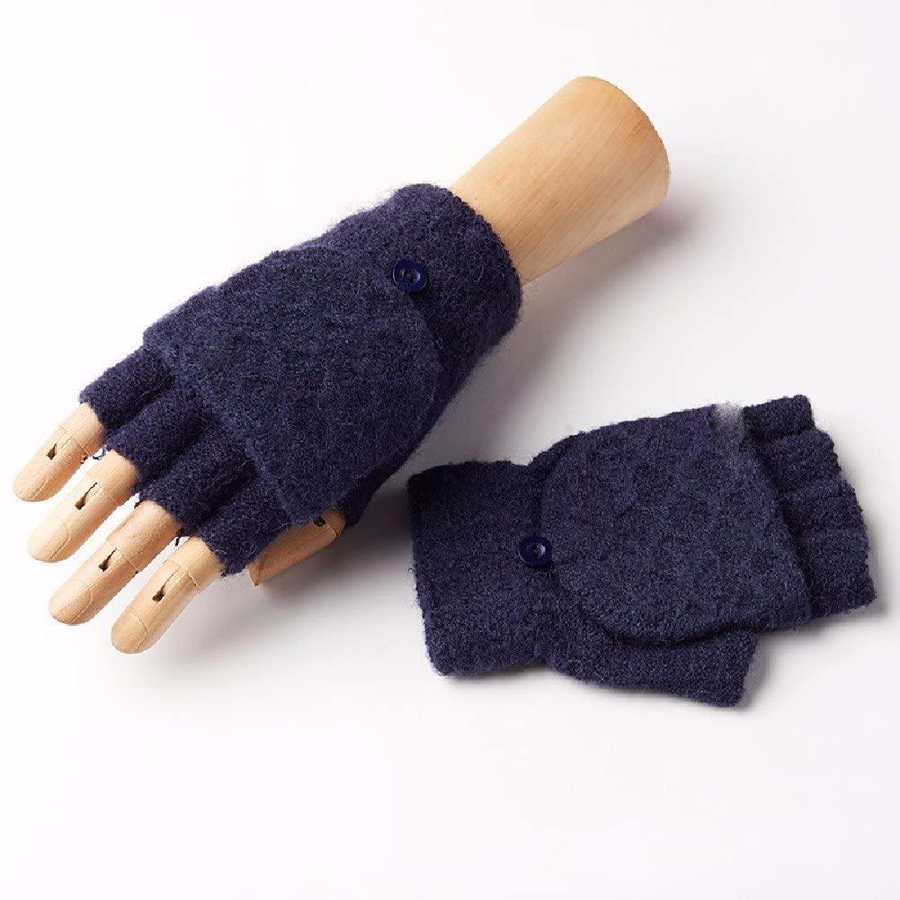 WAWZJ Gloves Flip Finger Mittens Men'S Winter Wool Semi Finger Gloves
