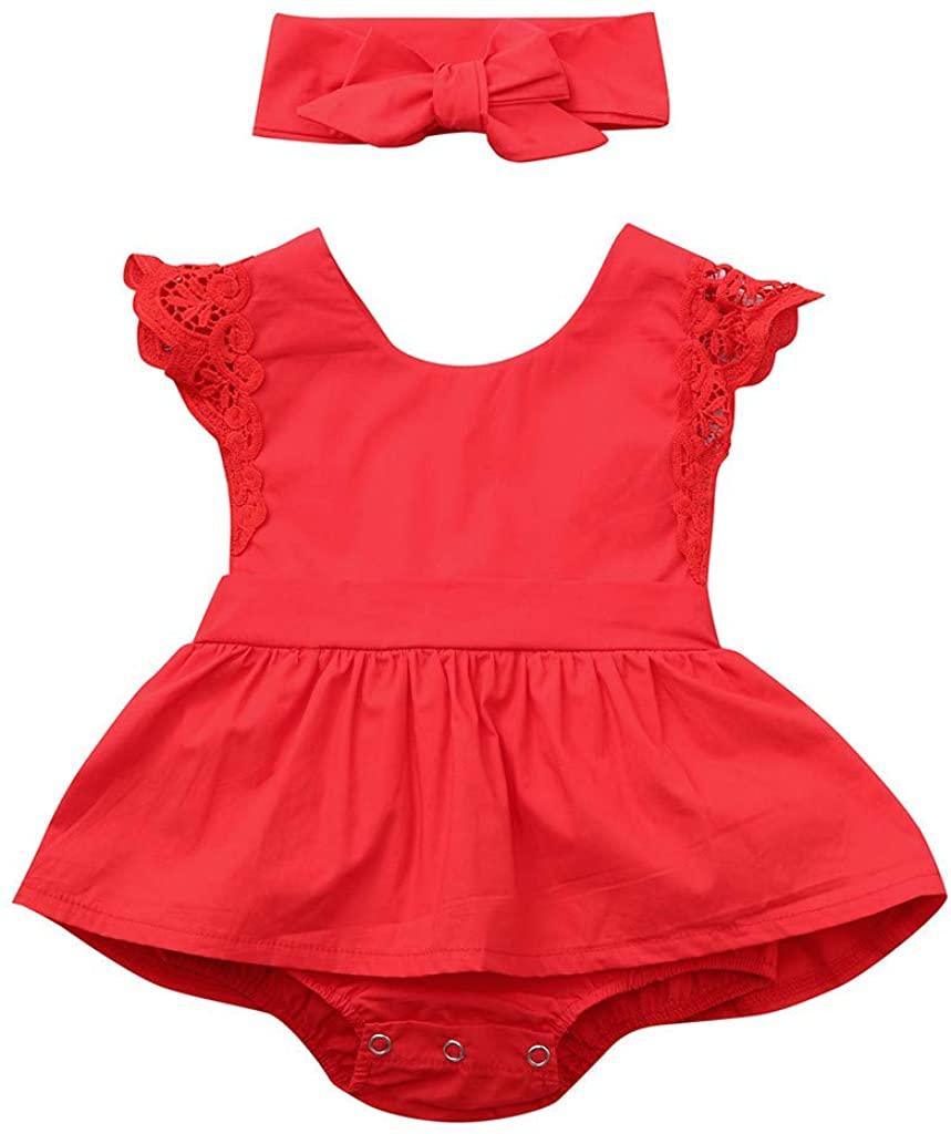ZEFOTIM Baby Girls Cute Dress,Newborn Infant Baby Kids Girls Ruffle Lace Romper Dress Princess Headband Set 0-24M