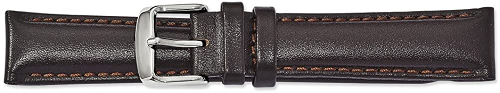 Sonia Jewels 24mm Brown Smooth Leather Chrono Silver-Tone Buckle Watch Band 7.5