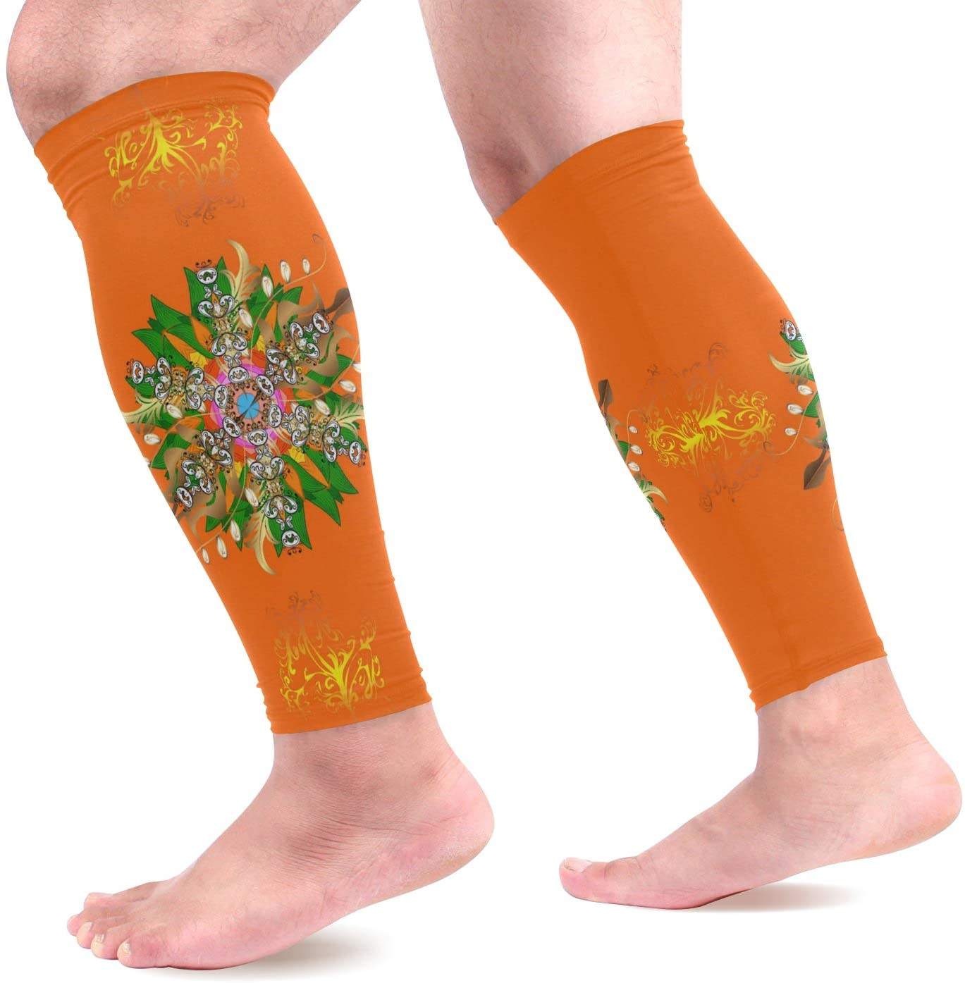 Calf Compression Sleeves Women Yellow and Orange Colors Footless Calf Compression Socks for Running, Shin Splint, Calf Pain Relief, Leg Support Sleeve for Running, Air Travel, Nurses, Cycling Men