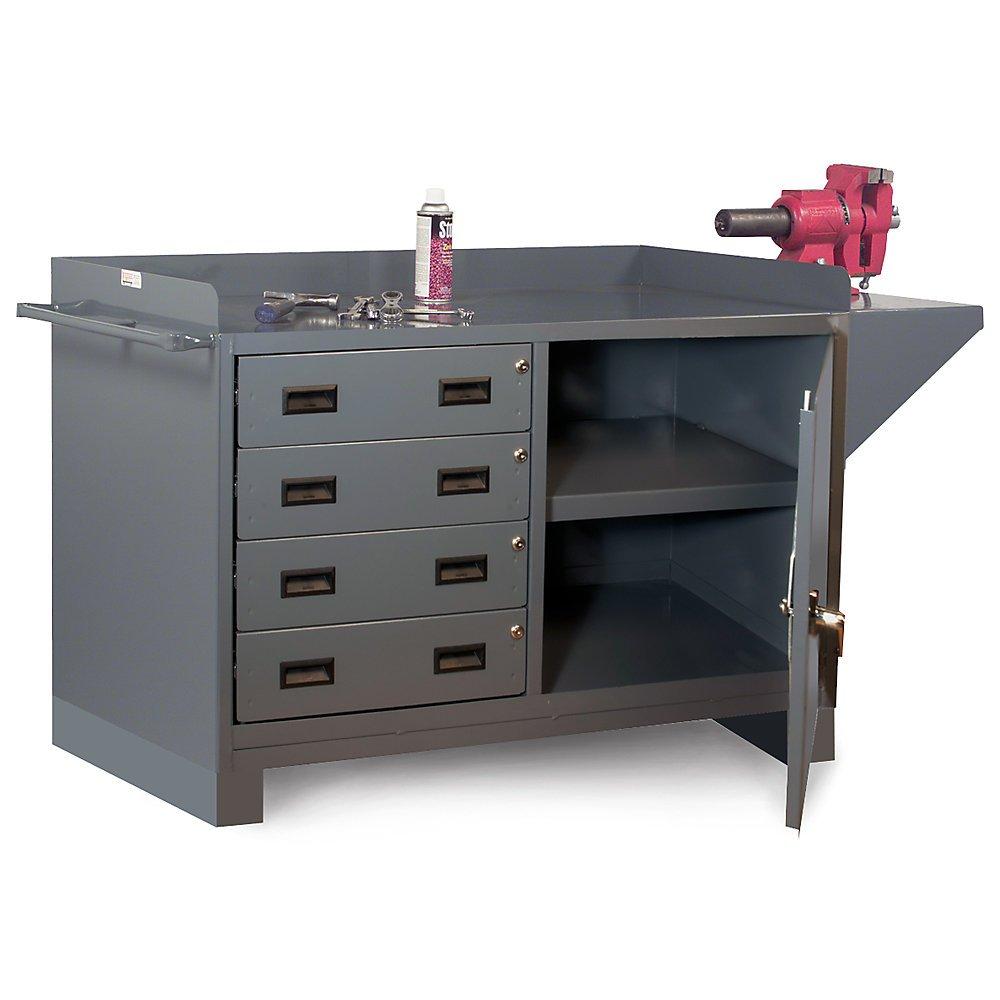 Durham Cabinet-Style Workbench - Four-Drawer Cabinet - Gray