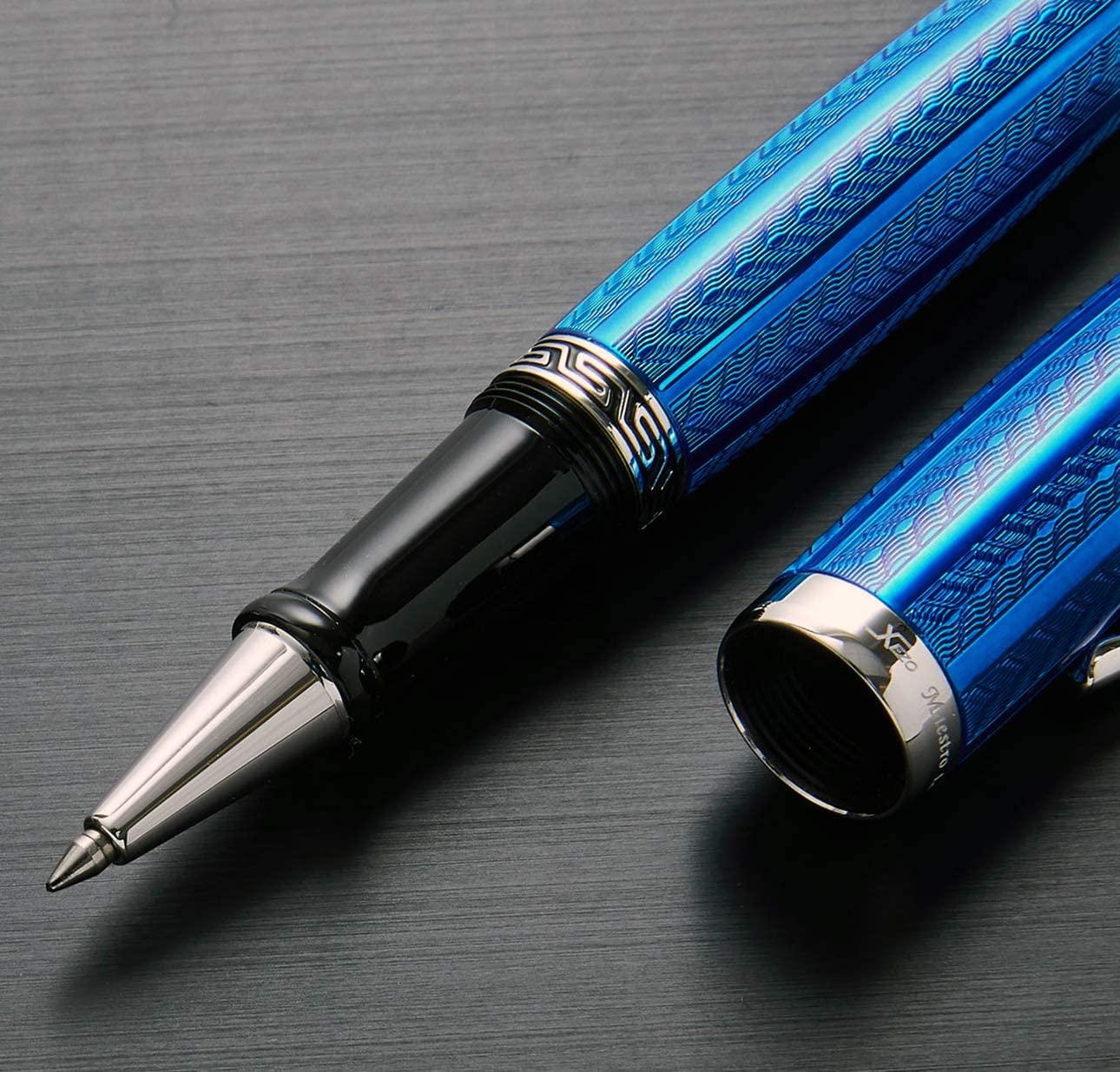 Xezo Maestro Diamond Cut, Lacquered, Handcrafted Platinum Plated Fine Rollerball Pen, Tanzanite Blue (Maestro LG Tanzanite R)