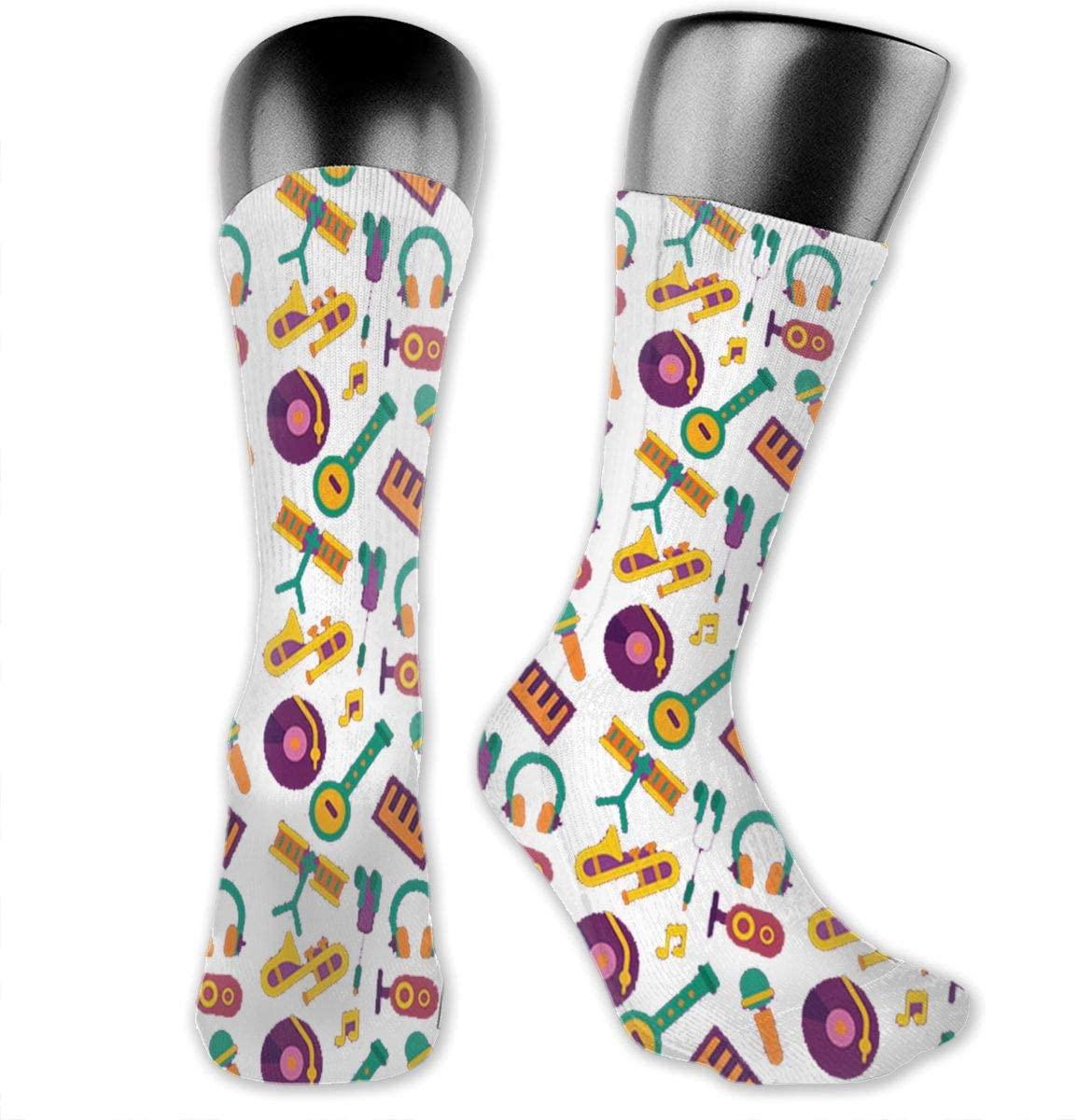 Musical Instrument Notes Unisex Outdoor Long Socks Sport Athletic Crew Socks Stockings
