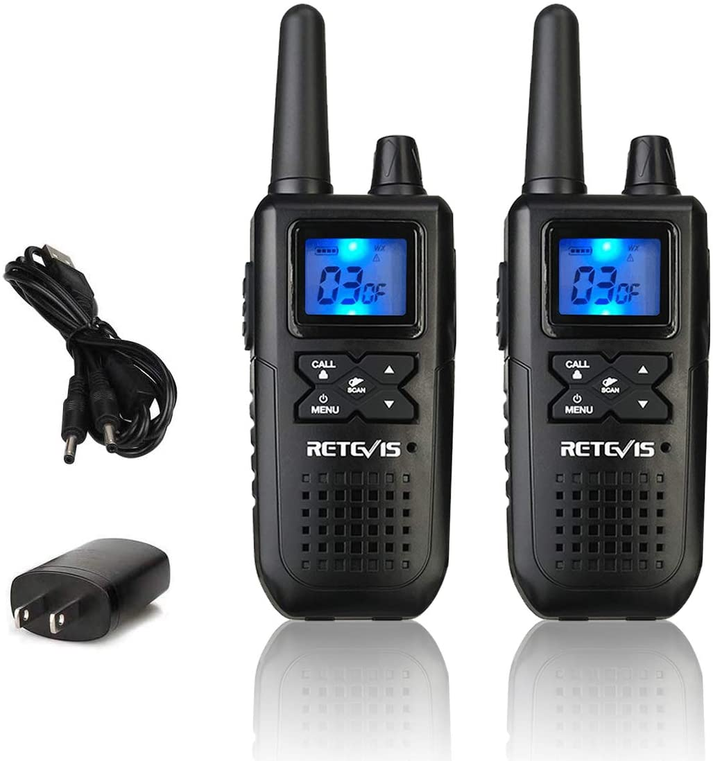 Retevis RT41 2 Way Radio Walkie Talkies for Adults NOAA Weather Alert FRS Lock 22 CH USB LCD 10 Call Tones Rechargeable Small Two Way Radio (2 Pack)