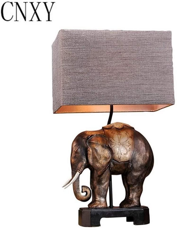 XINGDONG Elephant Lamp Complex Table Lamp Bedroom Bedside Lamp Living Room Lamp Classical European American Decorative Table Lamp Creative Bedside Light Fixture 1227