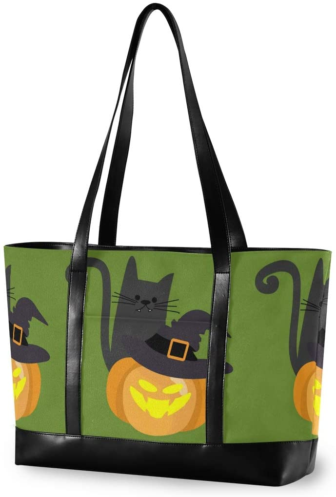 Halloween Large Woman Laptop Tote Bag - Witch Hat Black Cat Halloween Pumpkins Canvas Shoulder Tote Bag Fit 15.6 Inch Computer Tote Purses for Work