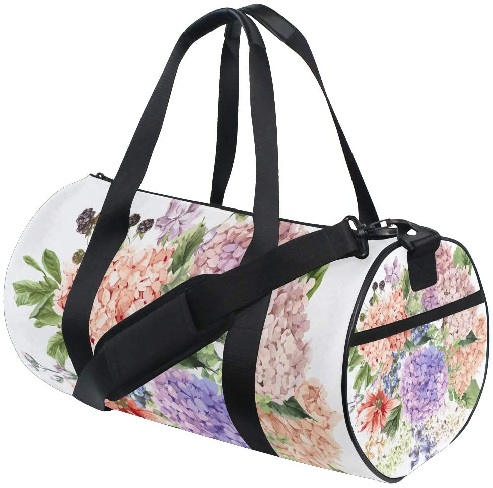 Brighter Blooming Hydrangea Fitness Sports Bags Gym Bag Travel Duffel Bag for Mens and Womens
