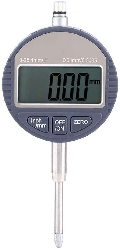 Dial Indicator, 0~25.4mm Aluminum Alloy 0.01mm Resolution High Precision Digital Dial Indicator