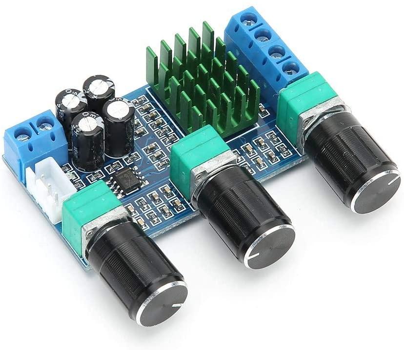 Mugast Amplifier Board, M567 TPA3116D2 80WX2 Aluminum Alloy Heat Sink High Power Stereo Digital Amplifier Board Supports Double Channel